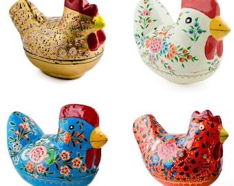 4 Decorative Figurines: Hen, Chicken and Rooster Wooden Figurines- Folk Art- SKU # edgb01-02-03-09