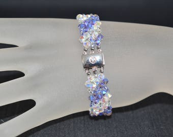 Bracelet crystal Swarovski crystal ab2x and tanzanite ab2x