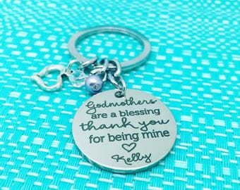 Godmothers Are A Blessing, Keychain, Godmother Gift, Godfather Gift, Gift From Godchild, Gift for Godmother, Baptism Gift, Christening Gift