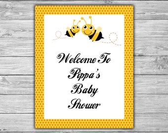 Bumble Bee - Baby Shower - Custom - Welcome Sign - Baby Shower Sign - Table Sign - PRINTABLE - Bee Baby Shower - 070