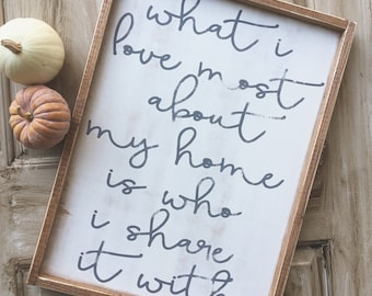 What I love most about my home, Farmhouse, Framed, Wood Sign, Rustic, Distressed, Wedding, Wedding Gift, Housewarming, Wooden Sign