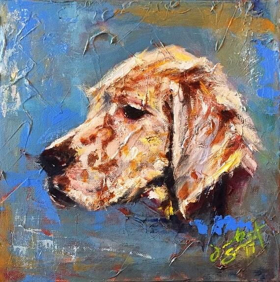 Original Pet Portrait - Contemporary Dog Portrait - 10x10 - Acrylic on Canvas