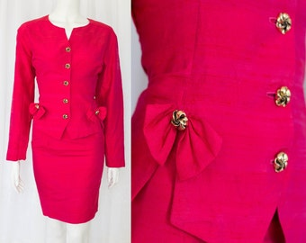 Lovely womens skirt suit RED gold buttons fitted