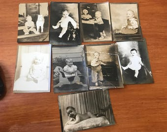 Black & WHite Toddler Baby PHotos 1930s Pictures Set of 9 Original Portraits