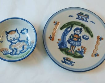 M.A. Hadley Country pattern plate and Cat bowl