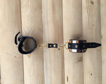 Black Leather and Gold Cuffs