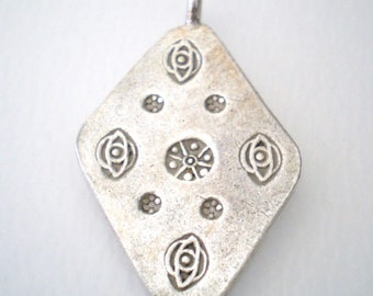 Thai Silver Hand Stamped Pendant Karen Hill Tribe Sundance Style Jewelry Making Supplies Stamped Diamond Shaped Pendant