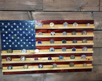 Challenge Coin Holder Rustic American - American Flag - Military Veteran Made -Stained Wood Flag -Wall Decor - Patriotic -Handmade
