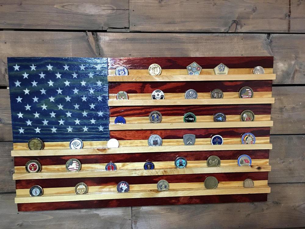 wooden flag coin holder