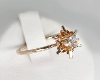gold diamond ring, antique diamond ring, gold solitaire diamond ring, diamond star ring, antique engagement ring, diamond solitaire ring