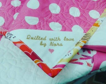 Machine Embroidered Quilt Labels 100% cotton