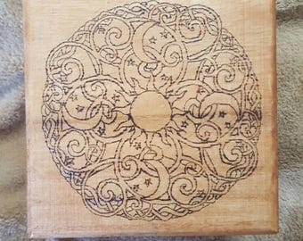 Sun, Moon, Star Swirl Design Woodburned Box
