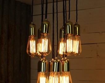 Stiffkey : Handmade tiered pendant light with 13 fittings for E27 Edison Screw Bulbs