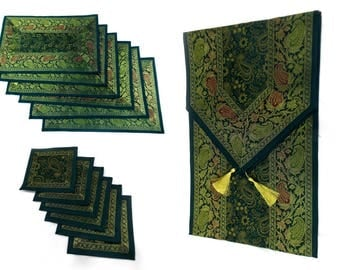Green Color Handmade Indian Silk Brocade Table Runner with Placemats and Coasters in Size 16x62 Inches
