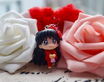 Sailor Moon, Sailormoon, Kawaii,  Mars , Japanese Kimono, Keychain Charm With Crystal And Heart Pom Pom
