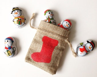 Christmas stocking red mini gift bag hessian jute burlap. Tiny gift bag. small santa sack. filler stuffer. Money bag. Jewellery gift bag