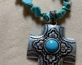 Chipped Turquoise Cross Necklace