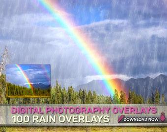 200 PHOTOSHOP RAIN OVERLAYS - Jpg Overlays - 100 Rain Overlays + 100 Blurred Motion Rain Overlays - Total Of 200 Rain Overlays
