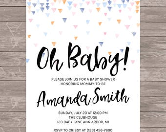 Gender Neutral Baby Shower Invitation | JPEG FILE