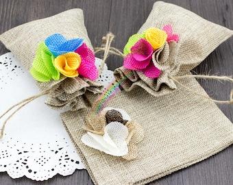 12pcs Rustic Burlap Gift Bags 10x14cm Drawstring Jute Pouches w Colorful Flower, Party Gift Bags, Wedding Favor Bags, Wedding Decoration