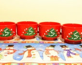 4 Small Waechtersbach Christmas Tree Cups, Waechtersbach Christmas Mugs, Red Christmas Tree Mugs, Christmas Coffee Cups