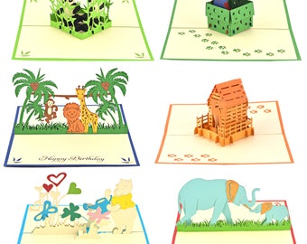 6 Pop Up Greeting Cards-Panda Bear-Jungle Animals-Cat-Dog-Elephant-Pooh Bear for Kids, Boys & Girls Birthday-Mother Day