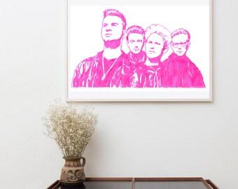 Depeche Mode Poster, Rock band Poster, Music Wall Art, Depeche Mode, Wall hanging Original Painting, Pop Art print, Pop Art Illustration