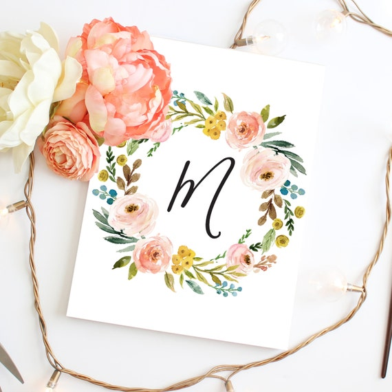 Watercolor Floral Monogram Wreath Floral Nursery Monogram Colorful Nursery White Nursery Art Print Little Girl Nursery Watercolor Nursery