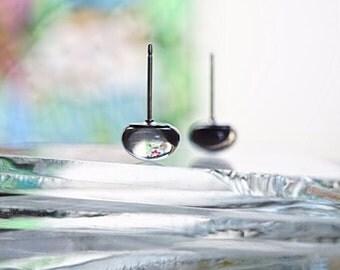 Minimalist earrings, grey stud earrings, fused glass earrings, gray studs, fused glass creations, handmade jewelry, statement earrings