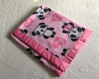 Girl love panda fleece blanket