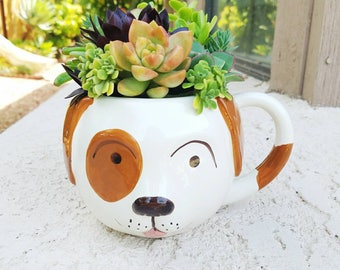 Super adorable dog lover mug with living succulents