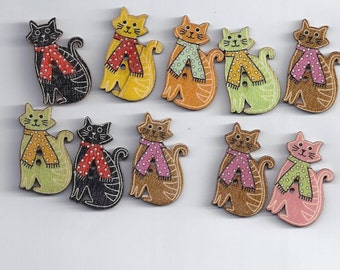10Pcs Random Mixed Lovely Cat Style 2 Holes Wood Sewing Buttons Scrapbookin(130)
