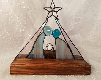 Nativity Scene in Stained Glass, Vintage Christmas Decoration