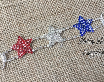 Red White and Blue Stars Rhinestone Connector- 4th of July Rhinestone Connector- Rhinestone Connector- Bikini Connector- Rhinestone Buckle