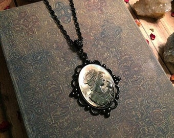Vintage cameo necklace // abalone shell cameo necklace // gothic necklace // gothic cameo necklace // black gothic necklace