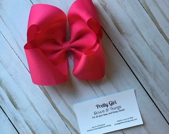 Shocking pink big girl bow, hot pink hair bow, boutique bow, twisted boutique bow, big southern bow, big hair bow,