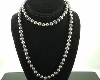 """32"""" Freshwater Baroque Black Pearl Necklace"""