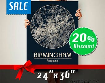 BIRMINGHAM Alabama CANVAS Map Birmingham Alabama Poster City Map Birmingham Alabama Art Print Birmingham Alabama poster Birmingham