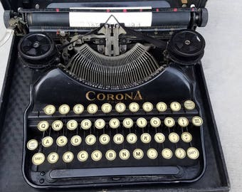 Rare 1920's Antique Vintage Working Corona Four Black Portable Typewriter With Carring Case