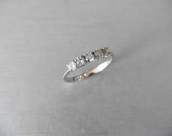 18ct white gold diamond five stone ring