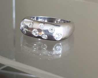 New! Designer Silver Stacking Ring with Diamonds Sale ends 7/15!