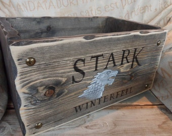 Game of Thrones crate & storage box Stark Winterfell, Winter is coming . Lannister Arryn Tyrell Baratheon Targaryen DVD box Gifts for him