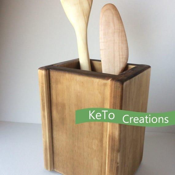 Wooden utensil holder kitchen utensil holder wooden spoon - Unique kitchen utensil holder ...