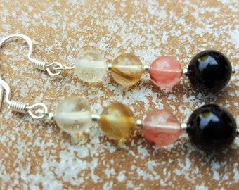 Earrings Onyx and quartz pink