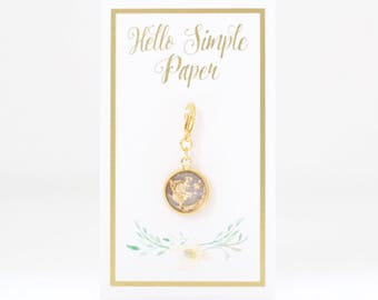 Stormy Grey Gilded Planner Charm
