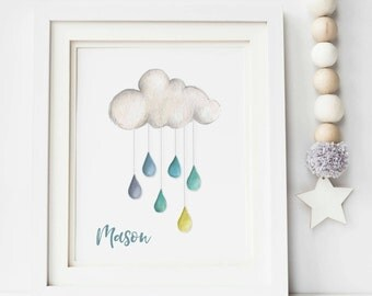 Watercolour Cloud Print - Raincloud Print - Nursery Print