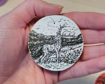 Wooden Stag Pendant with Original Pen and Ink Illustration Design