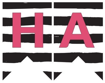 Printable Happy Birthday Banner---Pink, Black and White, Floral and Striped
