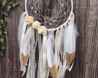 Handmade Floral Dream Catcher, Gold Feathers - Boho Decor