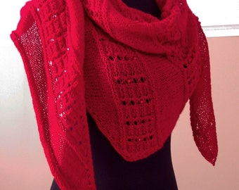 Lace Knit Shawl, Red Winter Scarf, Australian Merino, Glass Beads, Hand knitted, Handmade, Gift for Her, Any Occasion, Bohemian